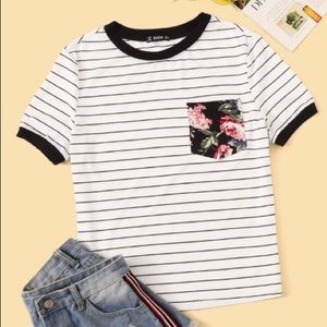 Floral striped tee